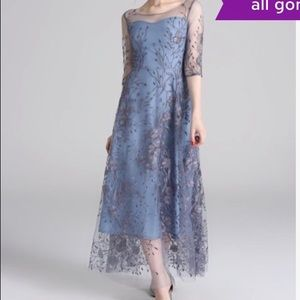 6c0a3de7e4 laklook Dresses | Light Blue Floral Sheer Overlayembroidered Dress ...